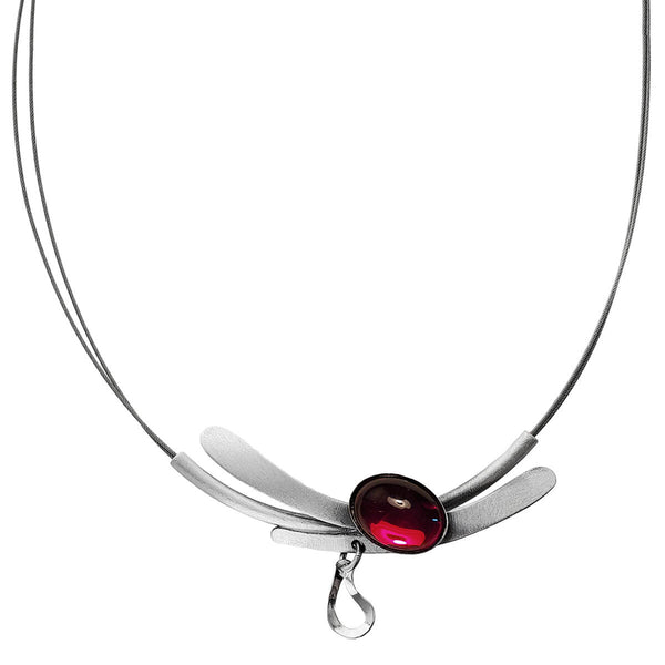 Christophe Poly Floating Silver Teardrop Red Cabochon Necklace