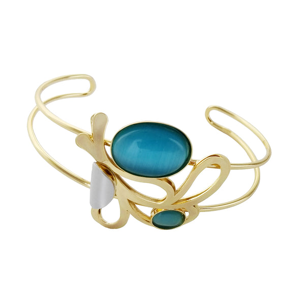 Christophe Poly Flowing Gold Flower Cuff Blue Cabochon