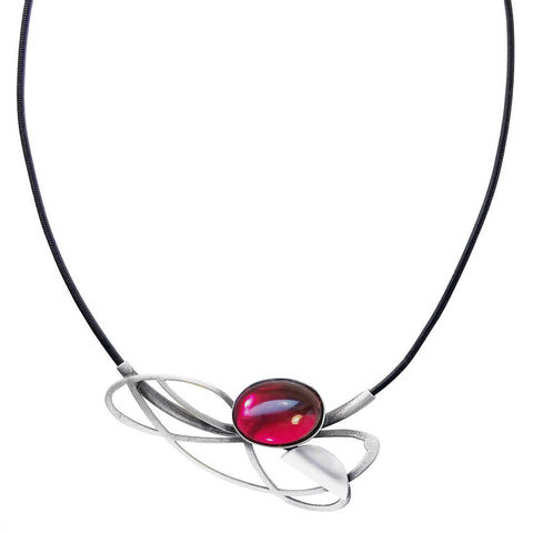 Christophe Poly Flowing Lines Leather Necklace