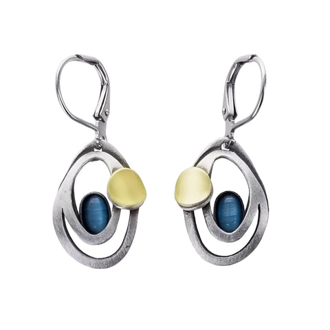 Christophe Poly Flowing Ovals Lever Back Earrings