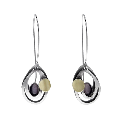 Christophe Poly Flowing Ovals Long Wire Earrings