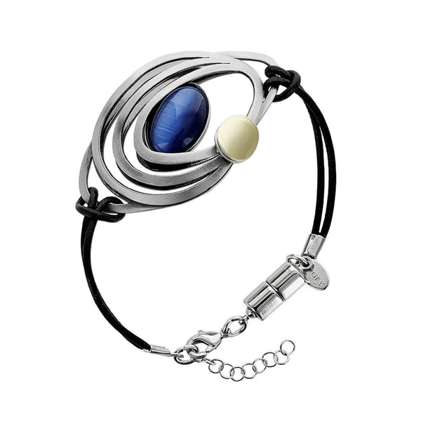 Christophe Poly Flowing Ovals With Blue Leather Bracelet
