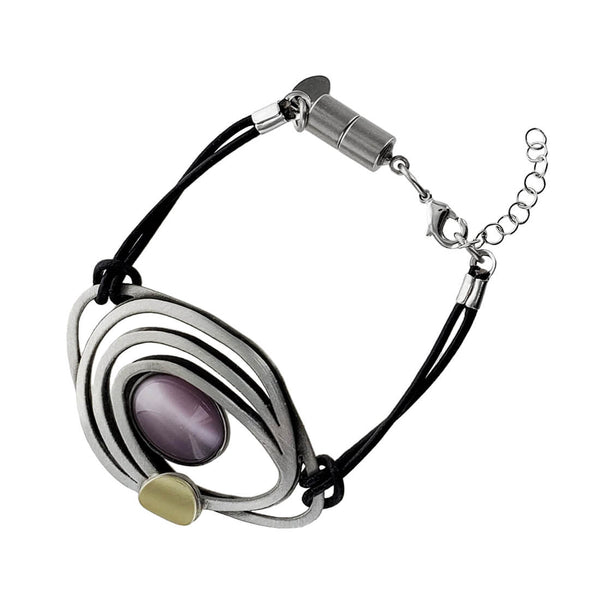 Christophe Poly Flowing Ovals With Purple Leather Bracelet