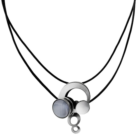 Christophe Poly Full Moon Leather Drop Necklace