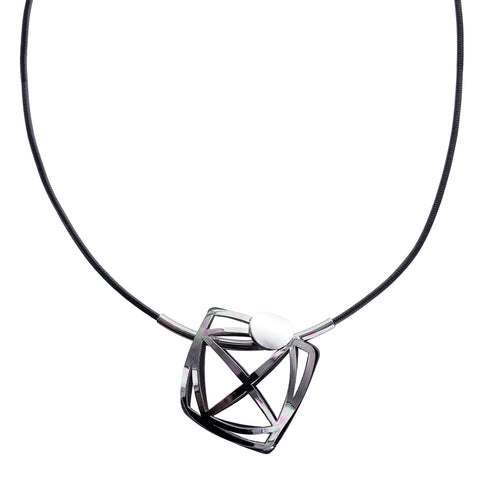 Christophe Poly Geometric Rounded Square Leather Necklace