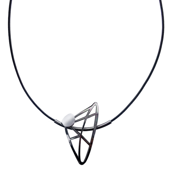 Christophe Poly Geometric Triangles Leather Necklace