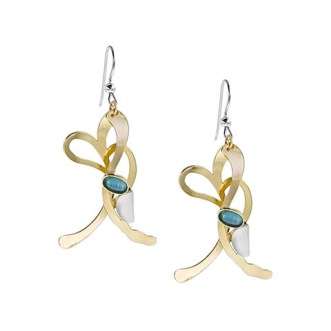 Christophe Poly Gold Ballet Earrings Accented With Blue And Silver