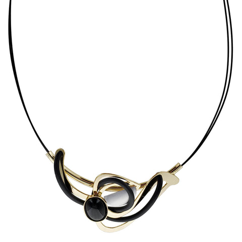 Christophe Poly Gold Black Bird Pendant Necklace