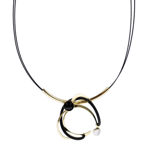 Christophe Poly Gold Black Circle Hugger Necklace