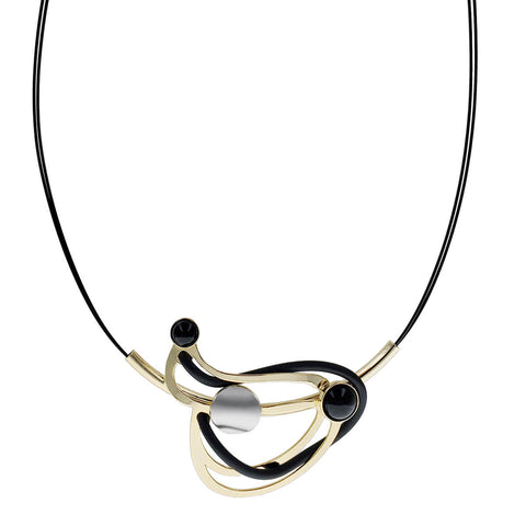 Christophe Poly Gold Black Woven  Necklace