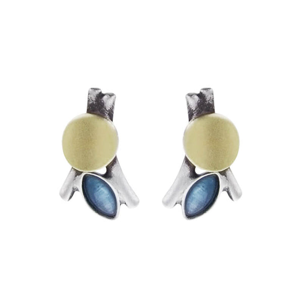 Christophe Poly Gold Circle Blue Marquise Post Earrings