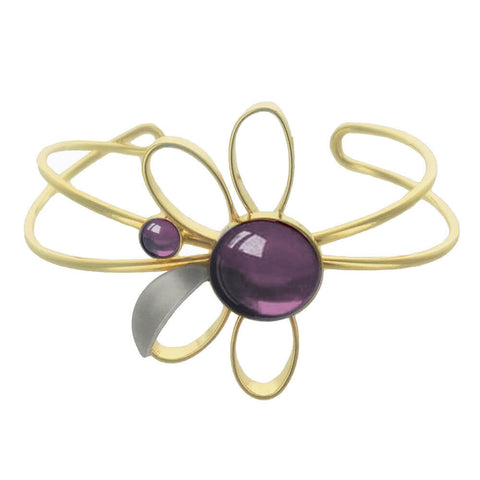 Christophe Poly Gold Purple Flower Cuff