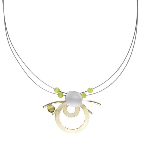 Christophe Poly Gold Green Circles & Rods Necklace