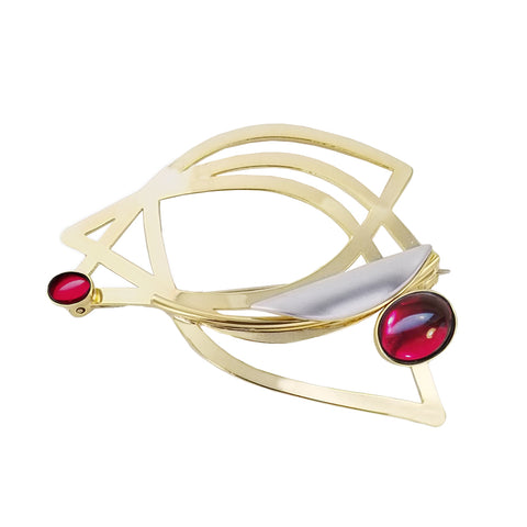 Christophe Poly Gold Leaves Pin with Red and Silver