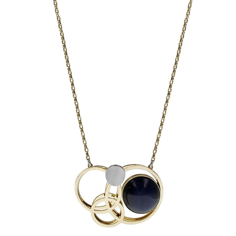 Christophe Poly Gold Orbiting Blue Circle Chain Necklace