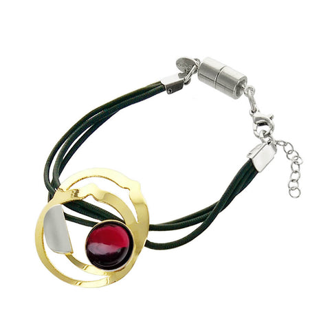 Christophe Poly Triple Leather Gold Red Circle Bracelet
