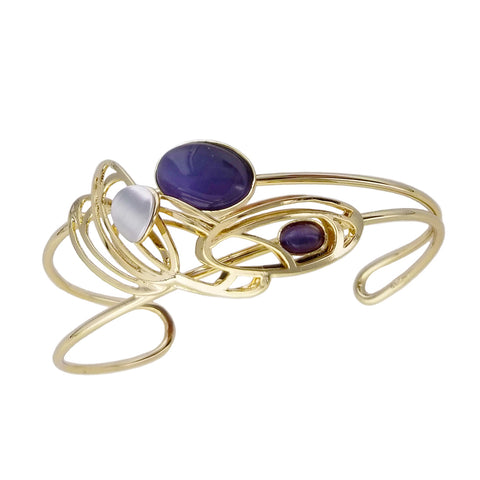 Christophe Poly Gold Ovals With Purplish Blue Cuff