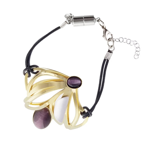 Christophe Poly Gold Purple Blossom Leather Bracelet