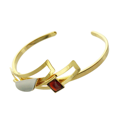 Christophe Poly Shiny Gold Red Square Cuff