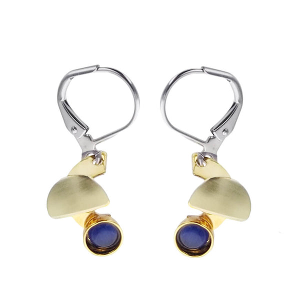 Christophe Poly Gold Semi Circle Blue Glass Earrings