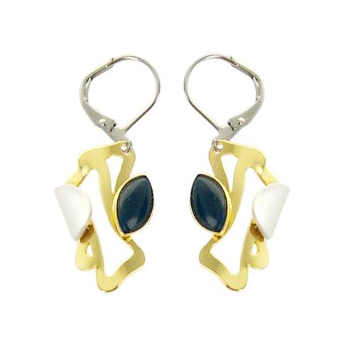 Christophe Poly Gold Silver Dark Blue Marquise Earrings
