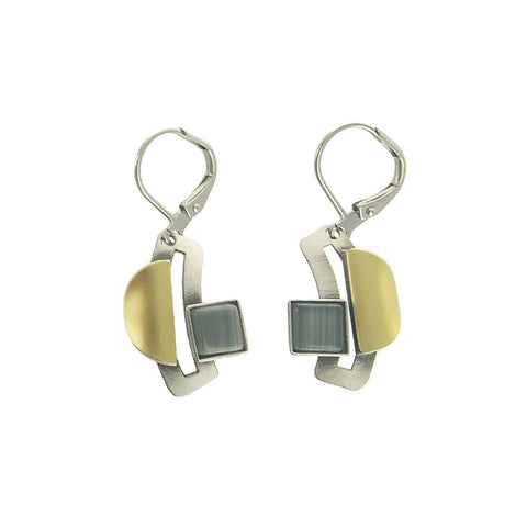 Christophe Poly Gold Silver Gray Square Earrings