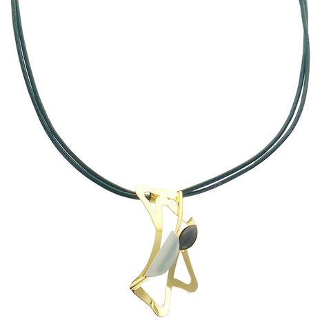 Christophe Poly Gold Silver Pendant Leather Necklace