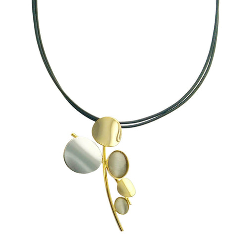 Christophe Poly Gold Silver Pearlescent Oval Leather Necklace