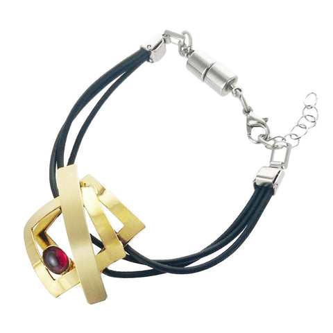 Christophe Poly Triple Leather Gold Squares Bracelet