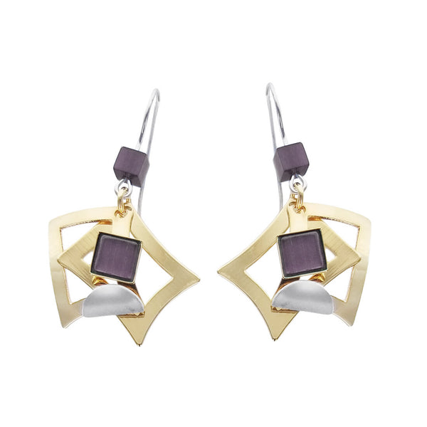 Christophe Poly Gold Squares Silver Petal Earrings