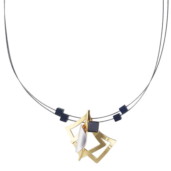 Christophe Poly Gold Squares Silver Petal Necklace