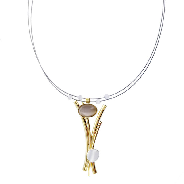 Christophe Poly Gold Stems Pearlescent Necklace