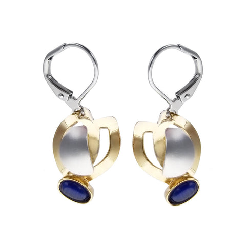 Christophe Poly Gold Wings Blue Oval Earrings
