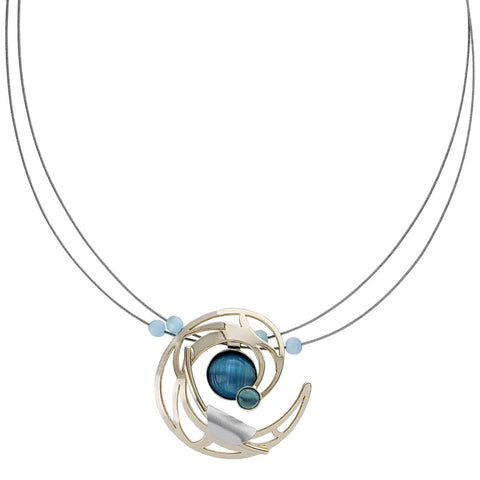 Christophe Poly Golden Irredescent Blue Pendant Necklace