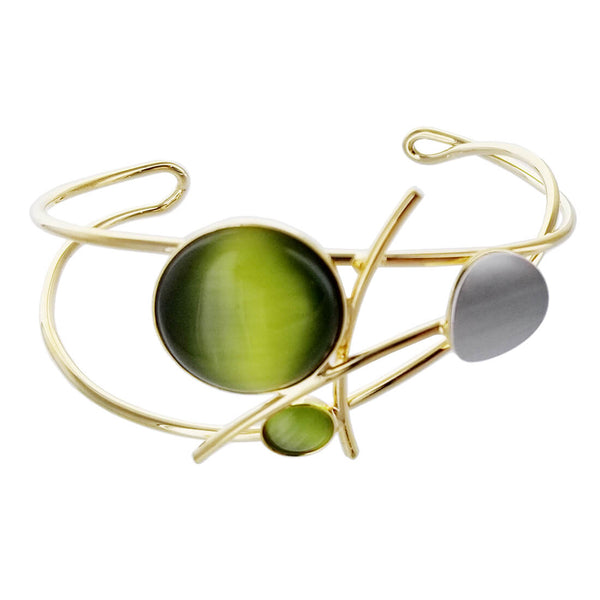 Christophe Poly Green Circles Stems Cuff