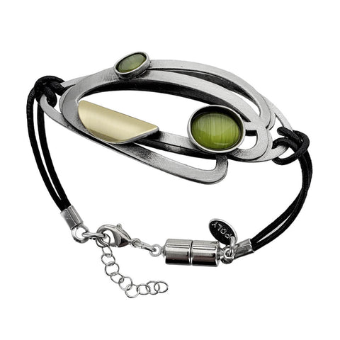 Christophe Poly Green Double Leaf Leather Bracelet