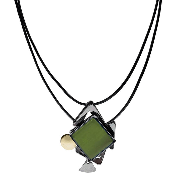 Christophe Poly Green Layered Geometric Triangles Drop Necklace