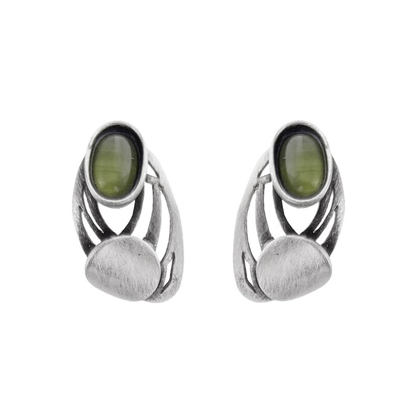 Christophe Poly Green Oval Silver Circle Post Earrings