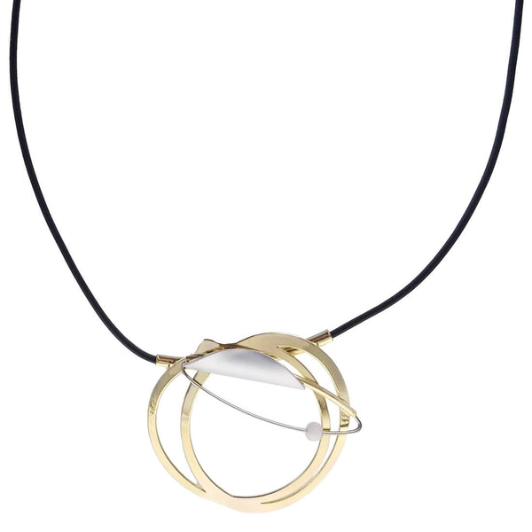 Christophe Poly Intersecting Gold Hoops Leather Pendant Necklace
