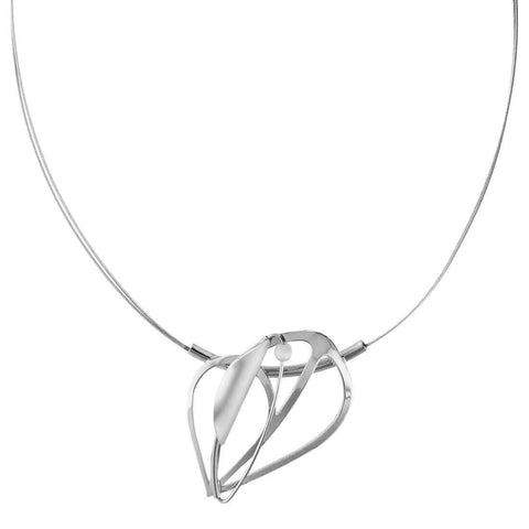 Christophe Poly Silver Italic Leaf Pendant Necklace