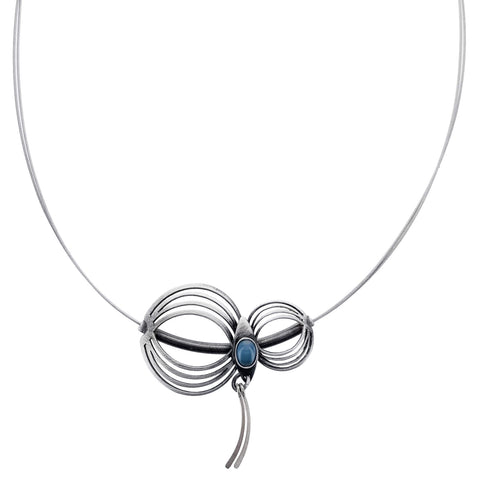 Christophe Poly Blue Oval Silver Jellyfish Necklace