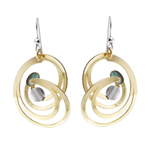 Christophe Poly Large Gold Swirl Blue Earrings