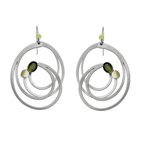 Christophe Poly Large Silver Swirl Earrings