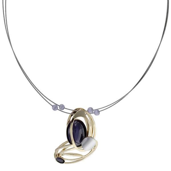 Christophe Poly Layered Gold Purple Ovals Wire Necklace