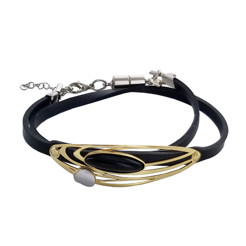 Christophe Poly Layered Ovals Double Wrap Bracelet
