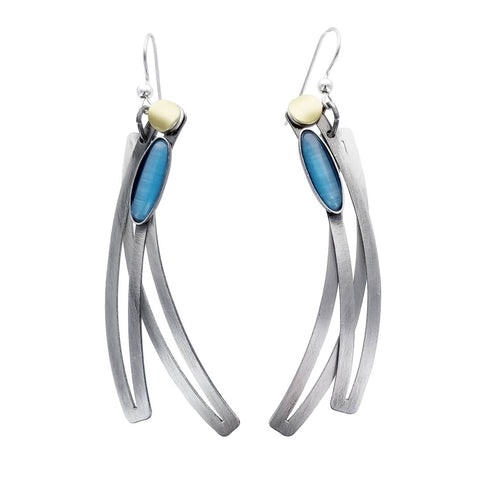 Christophe Poly Long Blue Vertical Curves Earring