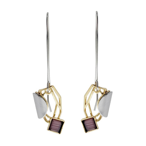 Christophe Poly Long Earwire Mixed Metal Purple Earwires
