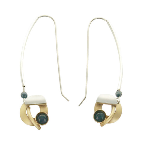 Christophe Poly Long Mixed Metal Circle Earrings