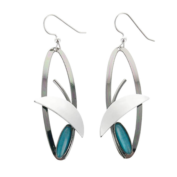 Christophe Poly Long Oval Silver Blue Earrings