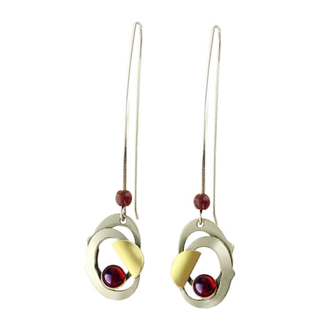 Christophe Poly Long Oval Petal Red Earrings